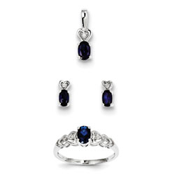 Girls Birthstone Heart Jewelry - Created Blue Sapphire Birthstones - Size 6 Ring, Earrings, and Necklace Set - Sterling Silver Rhodium - 16
