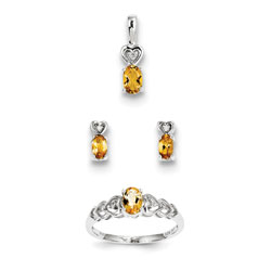 Girls Birthstone Heart Jewelry - Genuine Citrine Birthstones - Size 6 Ring, Earrings, and Necklace Set - Sterling Silver Rhodium - 16