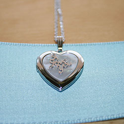 Beautiful 19mm I Love You Heart Photo Locket for Girls - Mother of Pearl - Sterling Silver Rhodium - Engravable on back -  Includes a 14