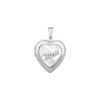 "Beautiful Mom Mother of Pearl 19mm Heart Photo Locket - Sterling Silver Rhodium - Engravable on back - 18"" chain included"