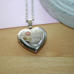 Tri-Color I Love You 19mm Keepsake Heart Photo Locket - Sterling Silver Rhodium - Engravable on back - Includes a 14