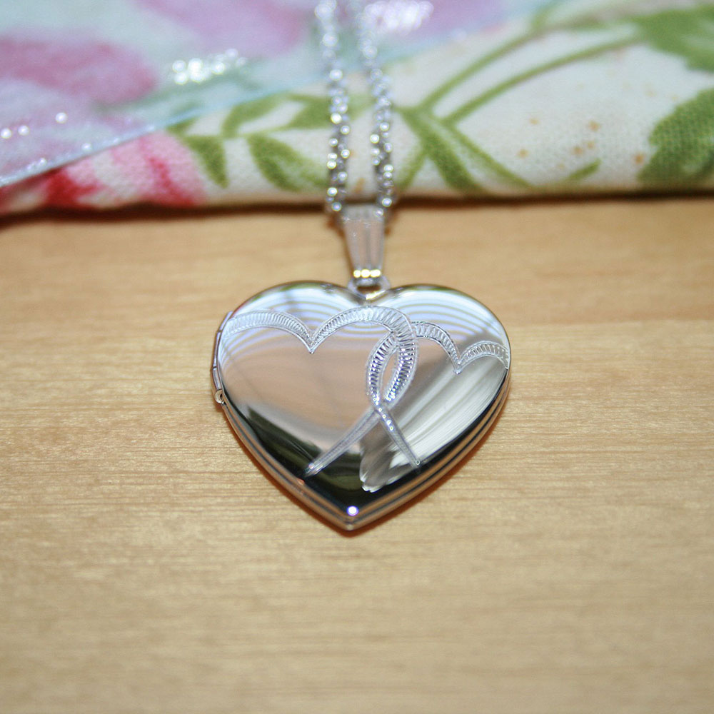 "Stylish 19mm Hand-Engraved Double Heart Photo Locket for Girls - Sterling Silver Rhodium - Engravable on back - Includes a 14"" 1.5mm Grow-With-Me® chain - Adjustable at 14"", 13"", 12"""