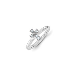 Girls Birthstone Cross Ring - Genuine Aquamarine Birthstone - Sterling Silver Rhodium - Size 6/