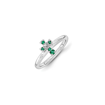 Girls Birthstone Cross Ring - Created Emerald Birthstone - Sterling Silver Rhodium - Size 6