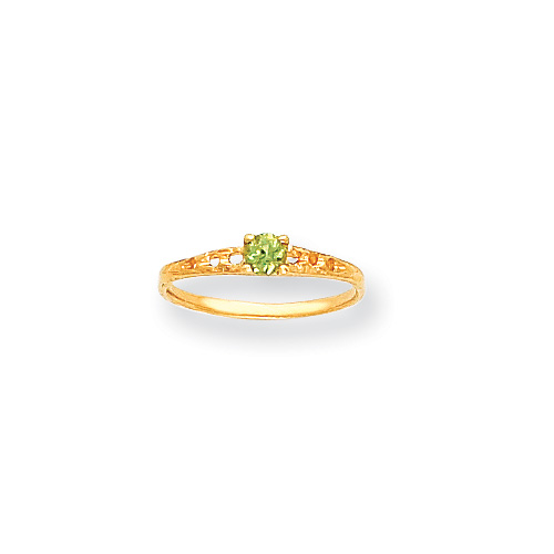 August Birthstone - Genuine Peridot 3mm Gemstone - 14K Yellow Gold Baby/Toddler Birthstone Ring - Size 3