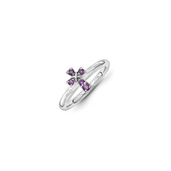 Girls Birthstone Cross Ring - Genuine Amethyst Birthstone - Sterling Silver Rhodium - Size 7/