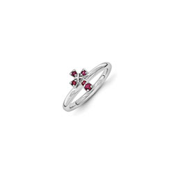 Girls Birthstone Cross Ring - Created Ruby Birthstone - Sterling Silver Rhodium - Size 7/