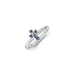 Girls Birthstone Cross Ring - Created Blue Sapphire Birthstone - Sterling Silver Rhodium - Size 7/