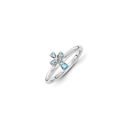 Girls Birthstone Cross Ring - Genuine Blue Topaz Birthstone - Sterling Silver Rhodium - Size 7/