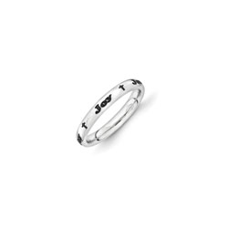 Cross Name Ring - Size 6 - Sterling Silver Rhodium/