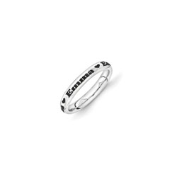 Four Word Personalized Heart Ring for Girls - 3mm Band Width - Sterling Silver Rhodium - Add Your Own Four Names or Words (up to 36 characters) - Size 6 - BEST SELLER/