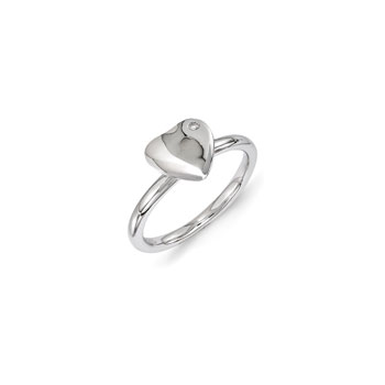 Personalized Diamond Heart Ring for Girls - Sterling Silver Rhodium - Engravable on front - Size 6