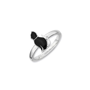 Adorable and Very Stylish Kitten Ring for Girls - Sterling Silver Rhodium - Size 7