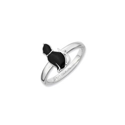 Adorable and Very Stylish Kitten Ring for Girls - Sterling Silver Rhodium - Size 7/