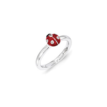 Adorable and Very Stylish Diamond Ladybug Ring for Girls - Sterling Silver Rhodium - Size 7
