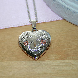Fine Heirloom 19mm Tri-Color Floral Cross Heart Photo Locket for Girls - Sterling Silver Rhodium - Engravable on back - Includes a 14