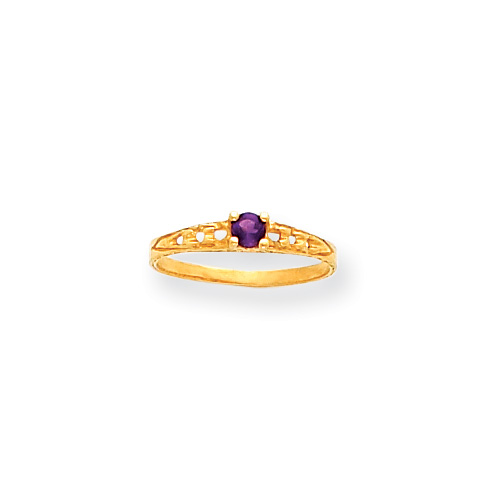 February Birthstone - Genuine Amethyst 3mm Gemstone - 14K Yellow Gold Baby/Toddler Birthstone Ring - Size 3