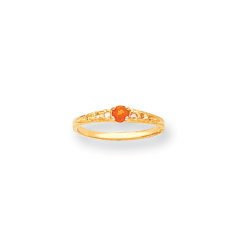 November Birthstone - Genuine Citrine 3mm Gemstone - 14K Yellow Gold Baby/Toddler Birthstone Ring - Size 3