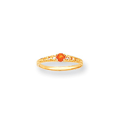 November Birthstone - Genuine Citrine 3mm Gemstone - 14K Yellow Gold Baby/Toddler Birthstone Ring - Size 3/