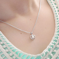 Girls Diamond & Birthstone Heart Necklace - Created Opal Birthstone - Sterling Silver Rhodium - Includes a 16