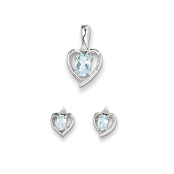 Girls Birthstone Heart Jewelry - Genuine Diamond and Aquamarine Birthstone - Earrings and Necklace Set - Sterling Silver Rhodium - Grow-With-Me® 16
