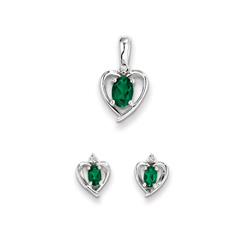 Girls Birthstone Heart Jewelry - Genuine Diamond and Created Emerald Birthstone - Earrings and Necklace Set - Sterling Silver Rhodium - Grow-With-Me® 16