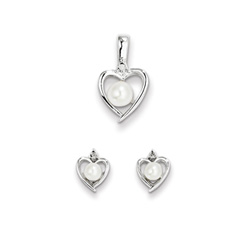 Girls Birthstone Heart Jewelry - Gen. Diamond Freshwater Cultured Pearl Birthstone - Earrings & Necklace Set - Sterling Silver Rhodium - Grow-With-Me® 16