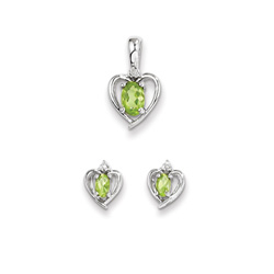 Girls Birthstone Heart Jewelry - Genuine Diamond & Peridot Birthstone - Earrings and Necklace Set - Sterling Silver Rhodium - Grow-With-Me® 16