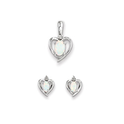 Girls Birthstone Heart Jewelry - Genuine Diamond and Created Opal Birthstone - Earrings and Necklace Set - Sterling Silver Rhodium - Grow-With-Me® 16