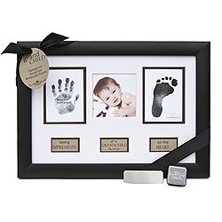 Grandchild Baby Keepsake Personalized Frame for Grandparents - Features baby's hand and foot prints, baby's photo - Includes personalized baby stats silver plate - Engraving included/