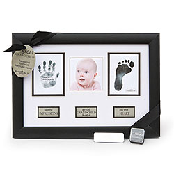 Great Grandchild Baby Keepsake Personalized Frame for Grandparents - Features baby's hand and foot prints, baby's photo -  Includes personalized baby stats silver plate - Engraving included/