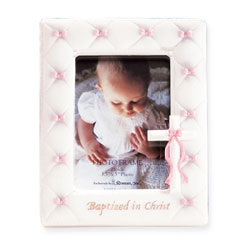 Baptized in Christ Stone Resin Gorgeous Photo Frame - Baby Girl Baptism Gift - BEST SELLER/