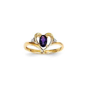 Girls Diamond Birthstone Heart Ring - Genuine Amethyst Birthstone with Diamond Accents - 14K Yellow Gold - SPECIAL ORDER - Size 5