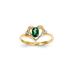 Girls Diamond Birthstone Heart Ring - Genuine Emerald Birthstone with Diamond Accents - 14K Yellow Gold - Size 5/