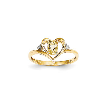 Girls Diamond Birthstone Heart Ring - Genuine Citrine Birthstone with Diamond Accents - 14K Yellow Gold - Size 5
