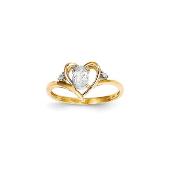 Girls Diamond Birthstone Heart Ring - Genuine White Topaz Birthstone with Diamond Accents - 14K Yellow Gold - SPECIAL ORDER - Size 6