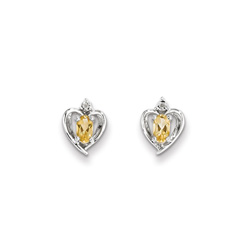 Girls Birthstone Heart Earrings - Genuine Diamond & Citrine Birthstone - 14K White Gold - Push-back posts/