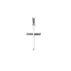 Elegant Christian Cross Necklace for Girls and Baby Boys - 14K White Gold  - Includes 15