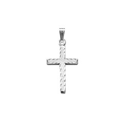 Elegant Hand-Engraved Christian Cross Necklace for Girls and Boys - Sterling Silver Rhodium  - Includes 15