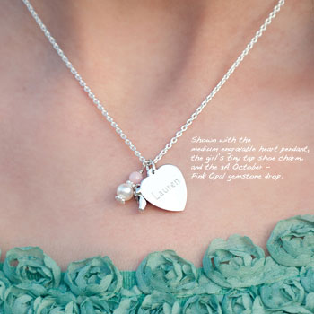 Love You! by Adorable Engravables® - Build Your Own Custom Personalized Heart Birthstone Necklace - Sterling Silver Rhodium - with exclusive Grow-With-Me™ Chain