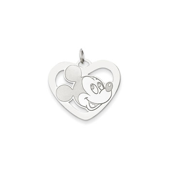 Disney Mickey Mouse Charm / Pendant (Large) – Sterling Silver Rhodium - Engravable on back - Add to a bracelet or necklace