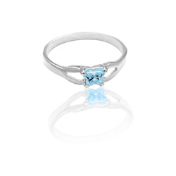 Teeny Tiny Butterfly Ring for Girls by Bfly® - March Aquamarine CZ Birthstone - Sterling Silver Rhodium - Size 4/
