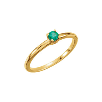 Adorable High-Quality May Birthstone Rings for Girls - 3mm Created Emerald Gemstone - 14K Yellow Gold Toddler / Grade School Girl Ring - Size 3 - BEST SELLER