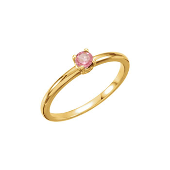 Adorable High-Quality October Birthstone Rings for Girls - 3mm Genuine Pink Tourmaline Gemstone - 14K Yellow Gold Toddler / Grade School Girl Ring - Size 3 - BEST SELLER