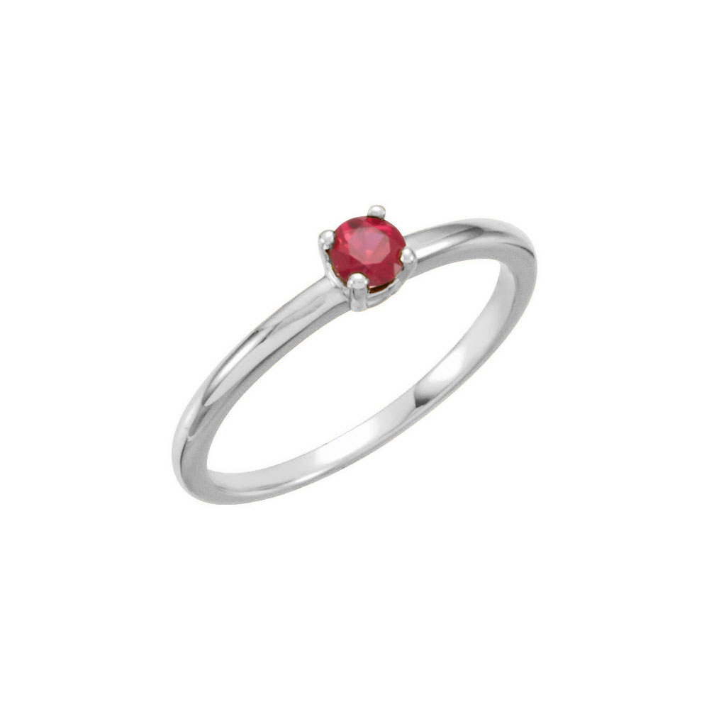 f3d2a871b3d943 Adorable High-Quality July Birthstone Rings for Girls - 3mm Created Ruby  Gemstone - 14K White Gold Toddler / Grade School Girl Ring - Size 3 - BEST  SELLER