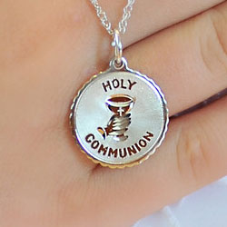 p heart necklace communion crystal charm first cross asp with personalised