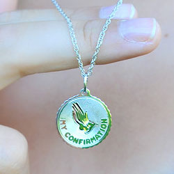 My Confirmation Medal Pendant Necklace for Girls and Boys - Sterling Silver Rhodium - 18-inch sterling silver rhodium chain included - Engravable/
