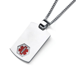 Stainless Steel Medical Alert ID Pendant Necklace for Teen Boys and Girls - Engravable on the front and back - 24-inch stainless steel chain included/