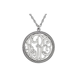 Circle Monogram Medium Round 25mm Rope Pendant Necklace - 14K White Gold - Chain included - Special Order/