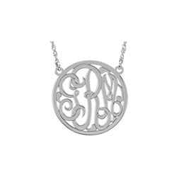 Girls Medium 25mm Round Script Monogram Pendant Necklace - 14K White Gold - Chain included - Special Order/